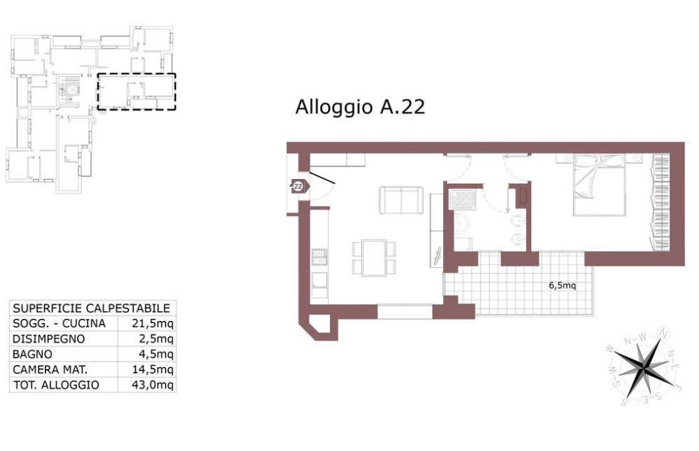 San Lazzaro di Savena appartamento 22 A – Le Mura – SL9AB
