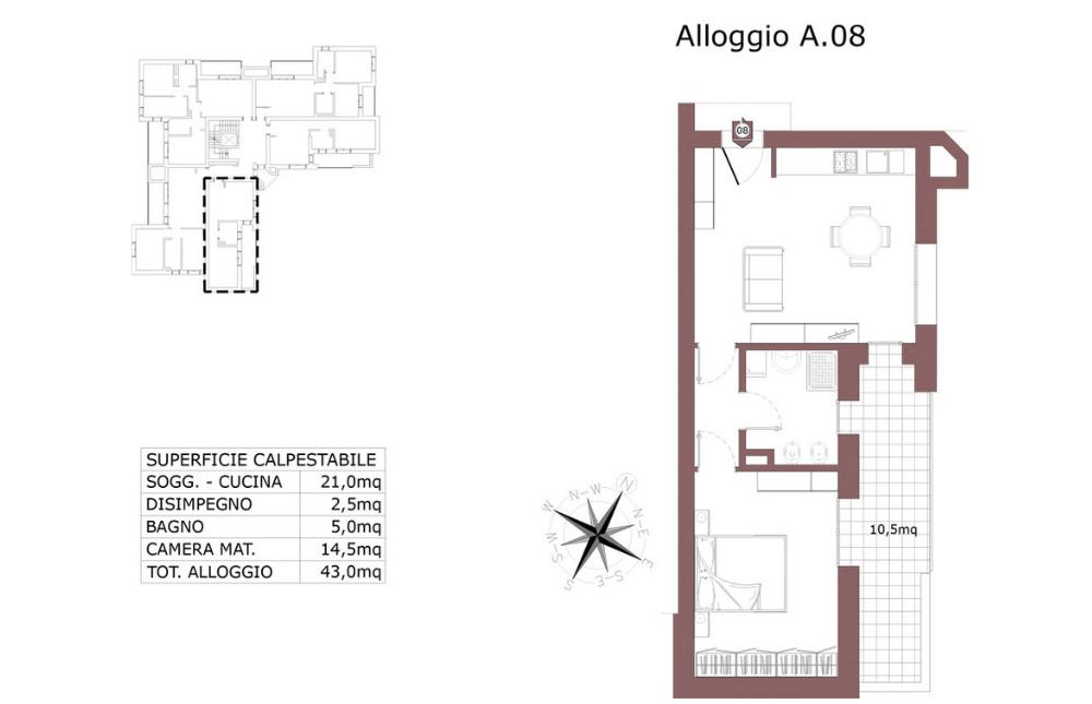 pianta appartamento 8 A - edilizia convenzionata