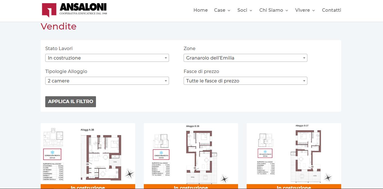 filtro vendite sul sito ansaloni