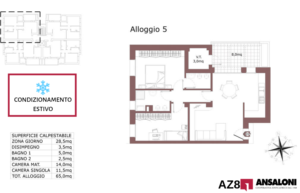 Anzola dell'Emilia appartamento 5 – tra Via Costa Torquato e Via Lodi – AZ8