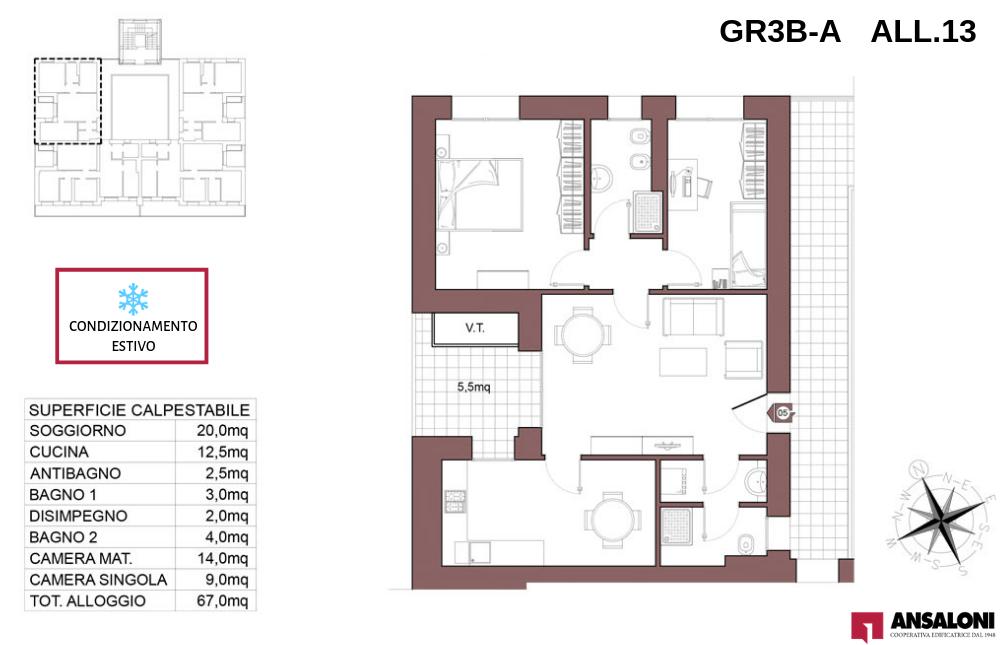 Granarolo dell'Emilia appartamento 13A – Via Carducci – GR3B