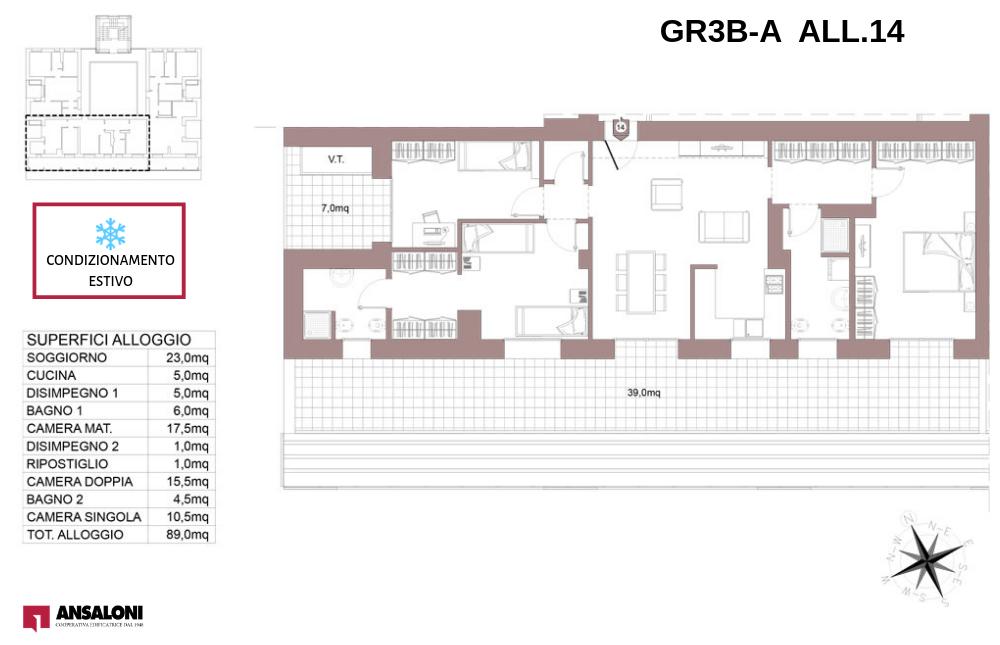Granarolo dell'Emilia appartamento 14A – Via Carducci – GR3B