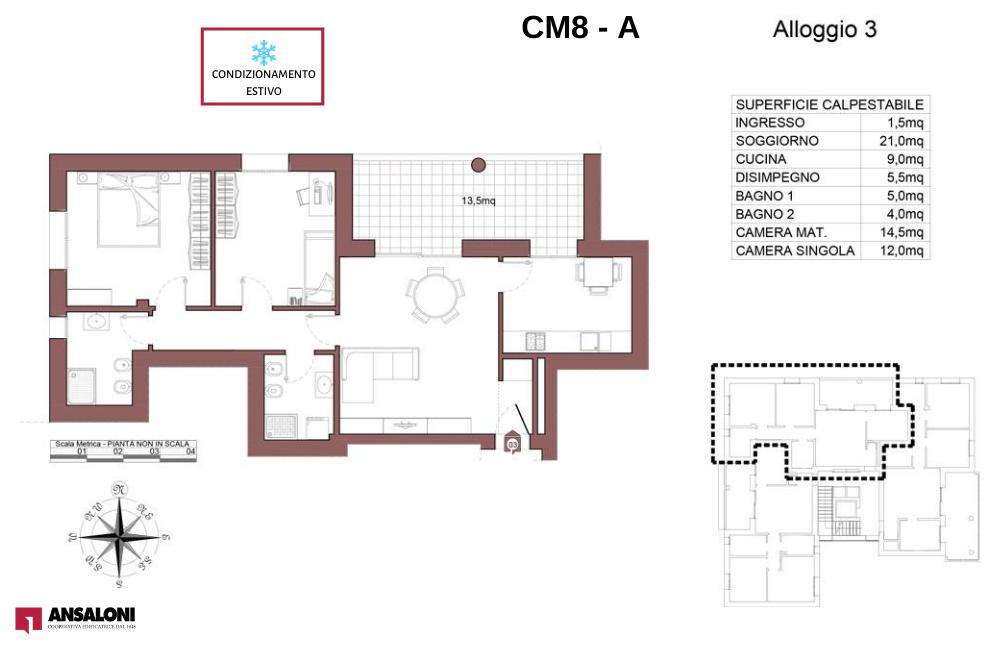 Castel Maggiore appartamento 3 A – Via Angelelli angolo Via Noce – CM 8AB