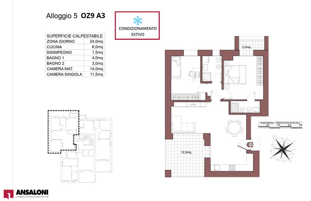 Ozzano dell'Emilia appartamento 5 – OZ9 A3 – Via Giuseppe Impastato – OZ9 A3